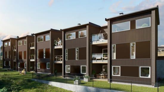 Illustrasjon av utsiden av rekkehusene  i Jespersvei 103-11 i boligprosjektet Pepperstadkollen