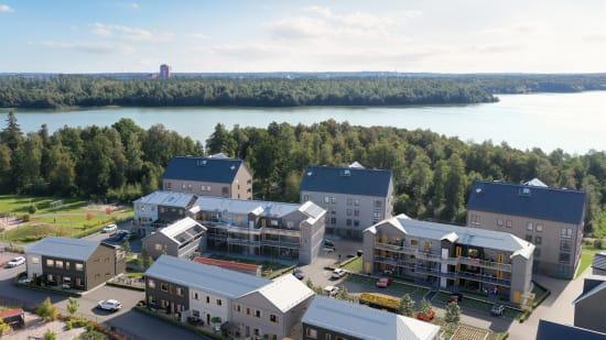 Översiktsbild på Brf Ebbas Trädgårdar som OBOS bygger i härliga Bredvik i Växjö