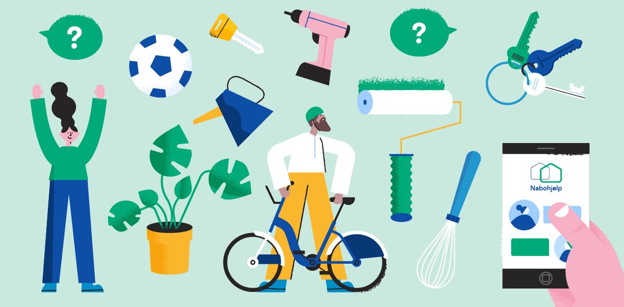 Illustrasjoner for Nabohjelp. Illustrasjonen viser ulike verktøy, mobil og to personer.
