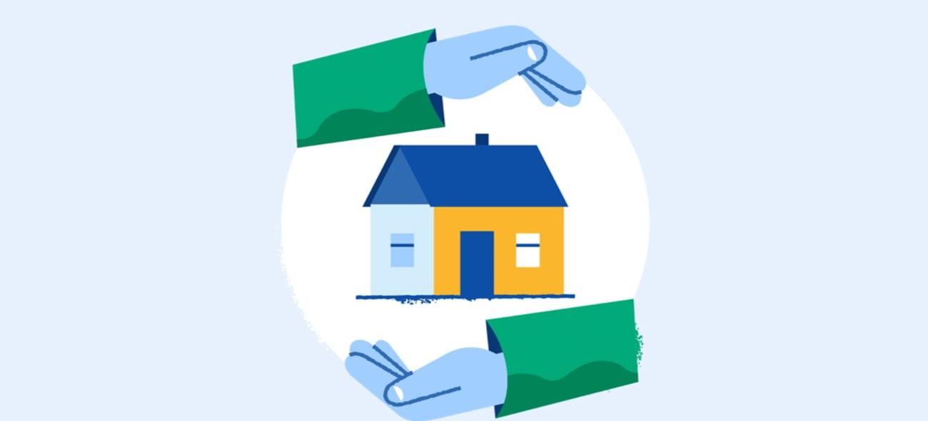 Illustrasjon om hender som verner om et hus