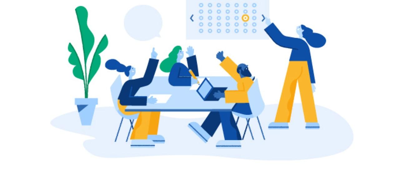 Illustrasjon av et styremøte hvor alle rekker hendene i været