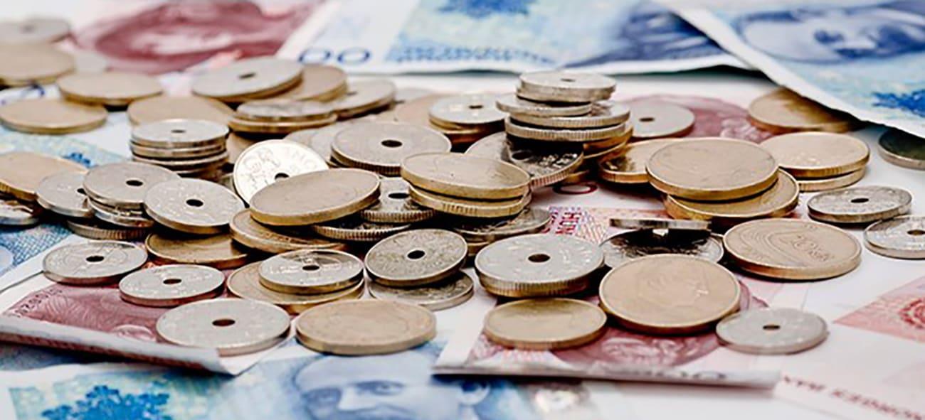 Bunke med sedler og haug med mynter