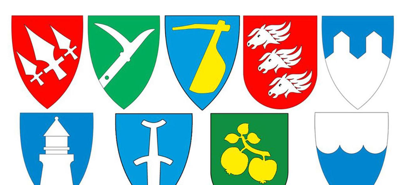 Kommunevåpen som sammen illustrerer kommunesammenslåing
