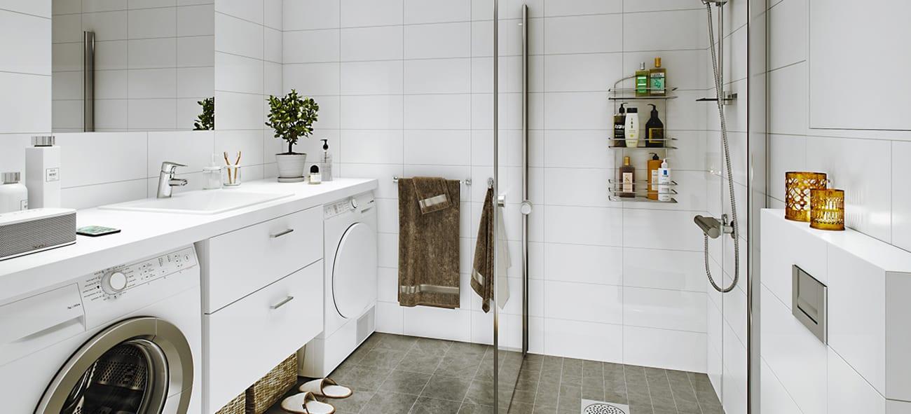 Moderne bad med hvitevarer