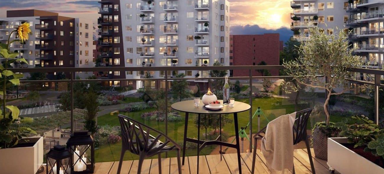 balkong i Gartnerkvartalet på kveldstid