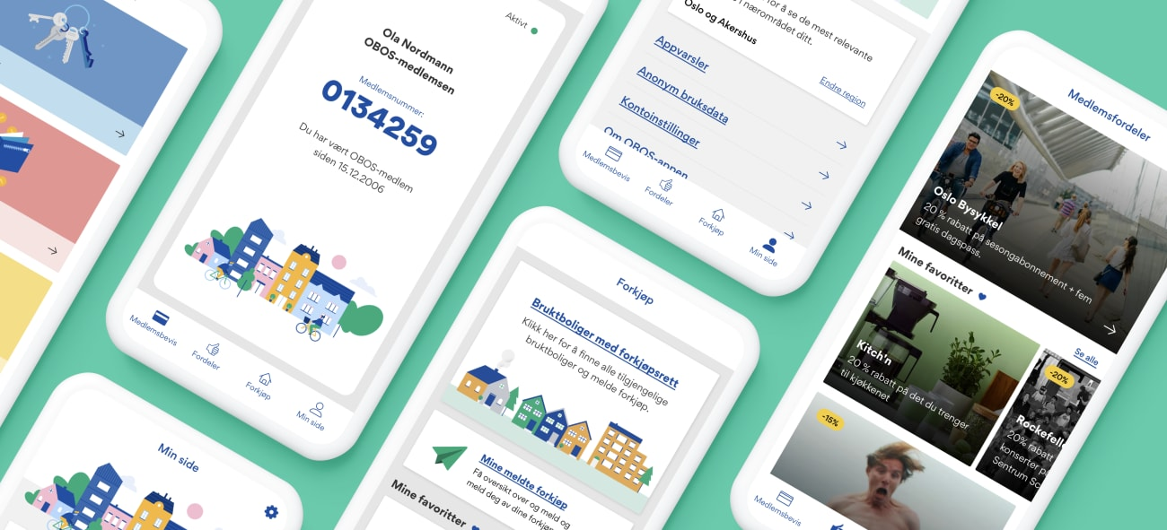 Bilde av flere mobiltelefoner med OBOS-appen