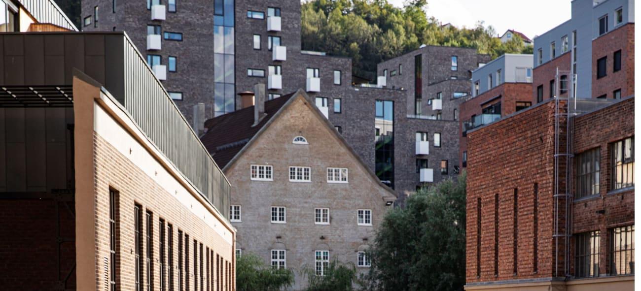Foto av bygg i Kværnerbyen.