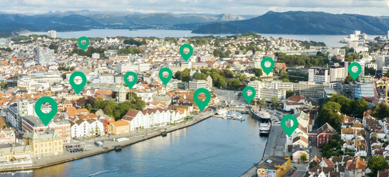 Bilde av Stavanger med markører for spennende steder å utforske