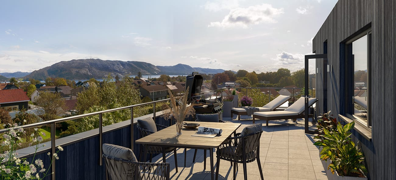 Takterrasse med fantastisk utsikt i boligprosjektet Mariebo på dagtid