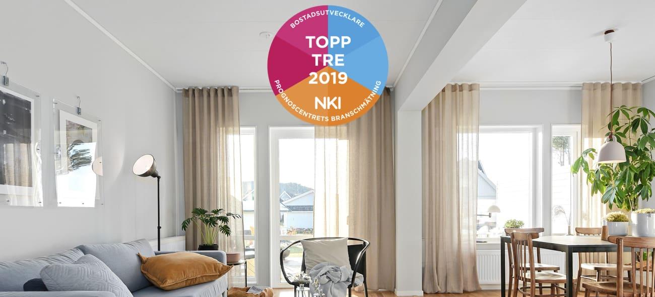 Bild på ljust luftigt vardagsrum med en logga för Topp tre 2019 NKI