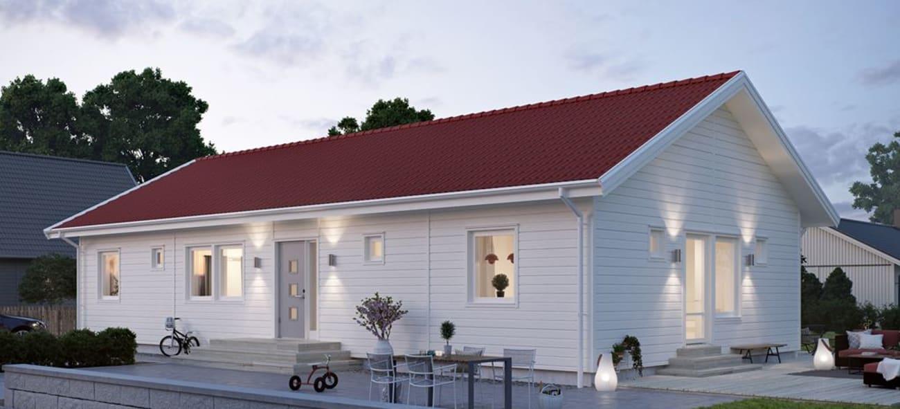 Vit enplansvilla med rött tak