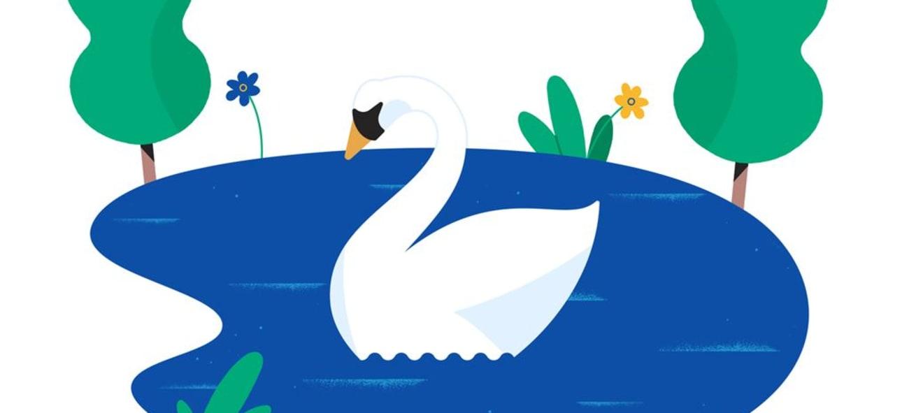 Illustration av en svan i en liten sjö
