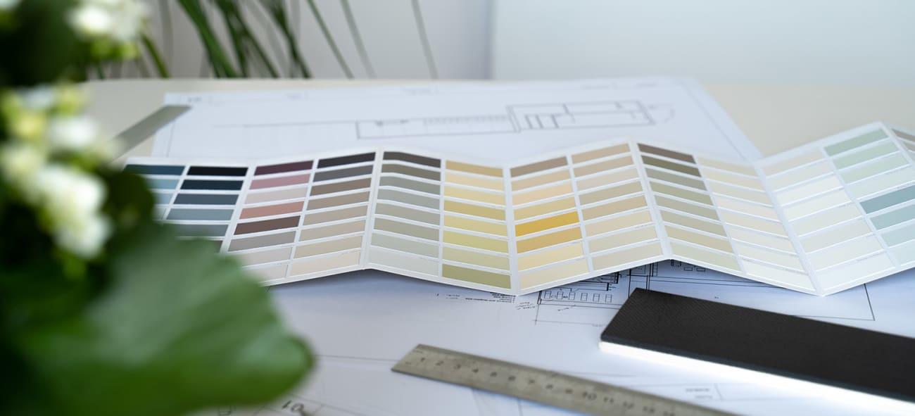 Et fargekart med en plante i forgrunnen