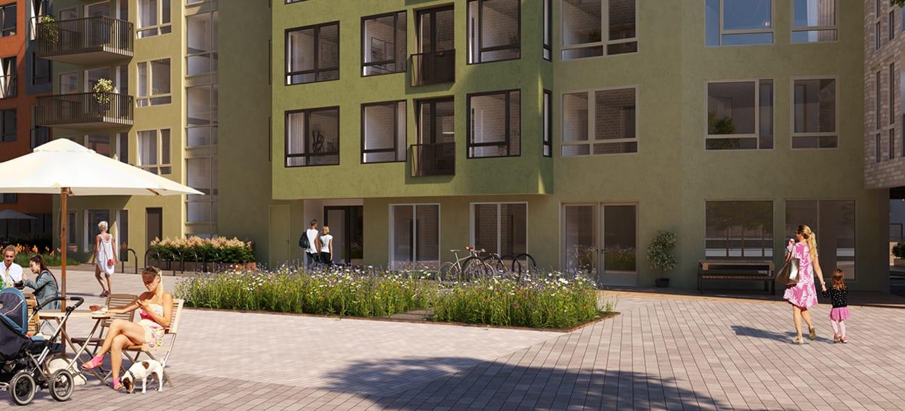 Illustrasjon av Living labs fasade og utearealer foran bygget.