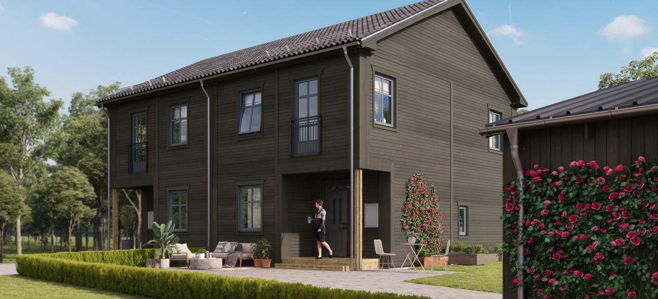 Ett fristående hus är en av bostäderna i Brf Karusellen som bostadsutvecklaren obos bygger i Örebro i området Nora Stensnäs