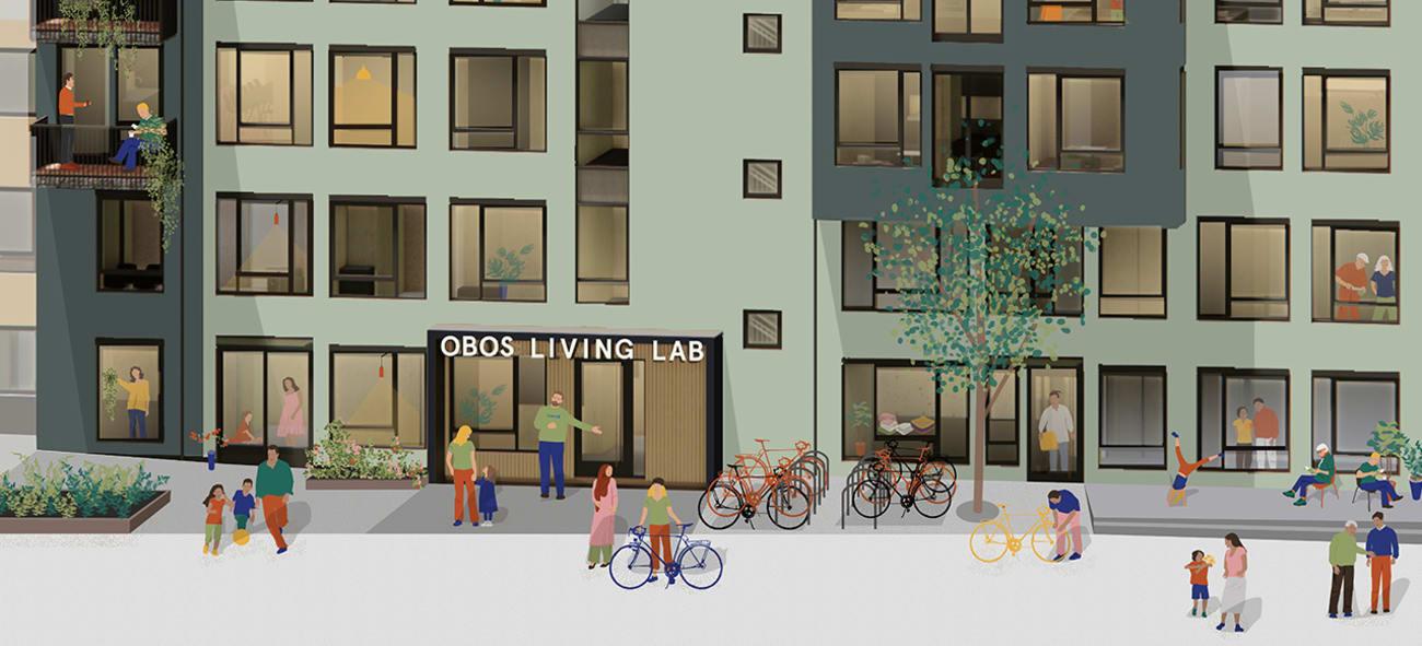 Illustrasjon av fasade og inngang til Obos Living Lab.