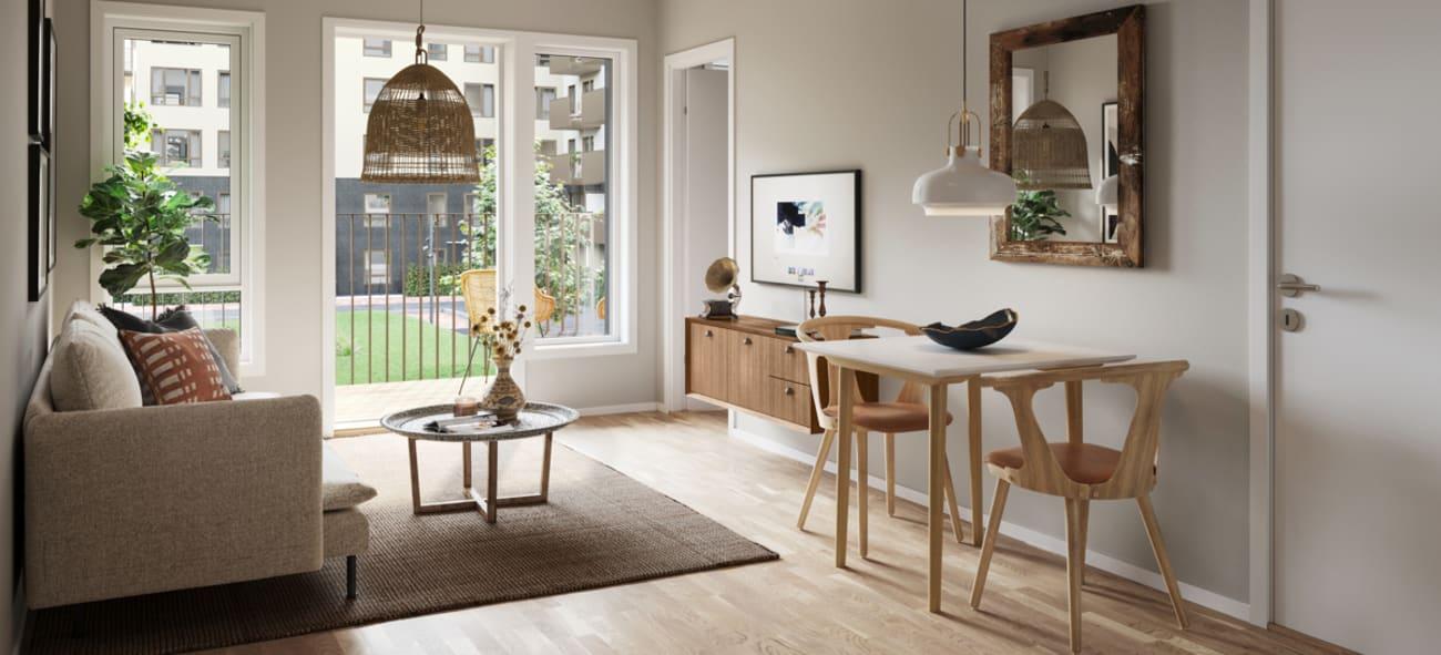Illustrasjon av stue i MIDT