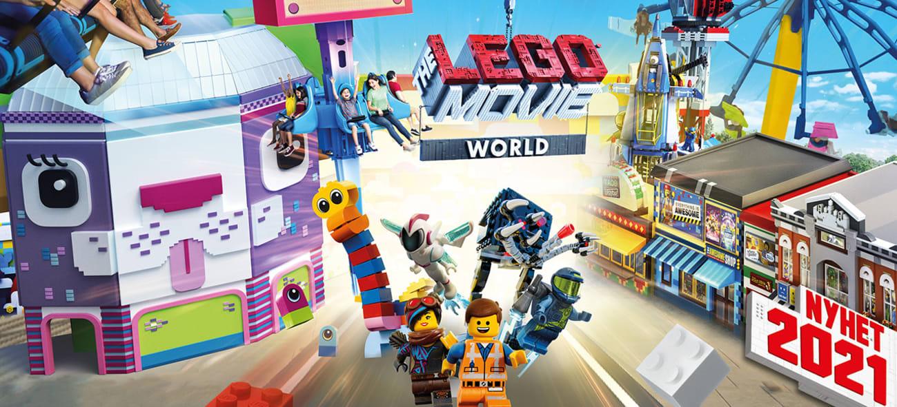Illustrasjon av Lego Movie World i Legoland med mange av de spennende aktivitetene som er der