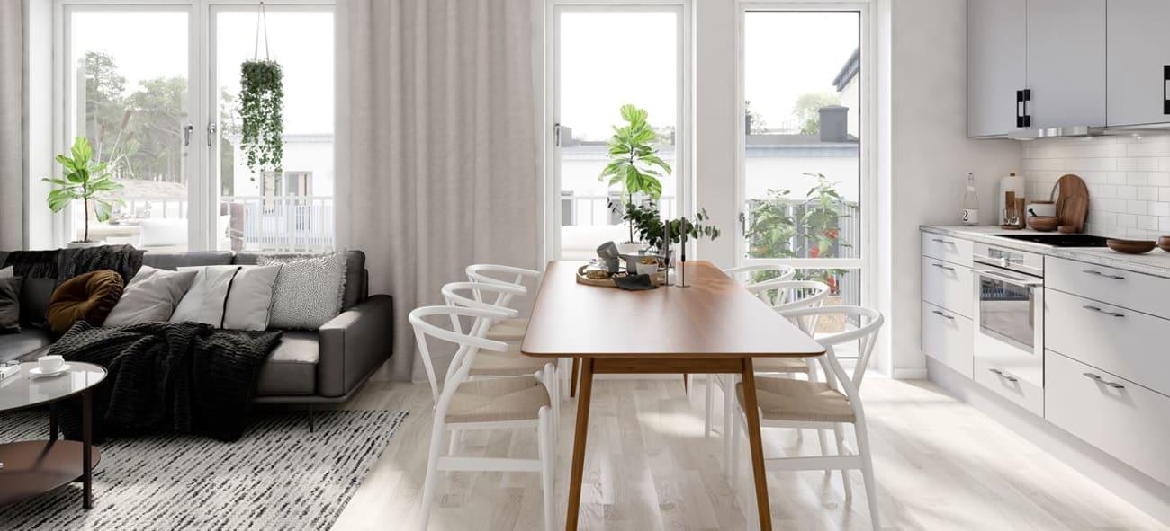 öppen planlösning kök och vardagsrum