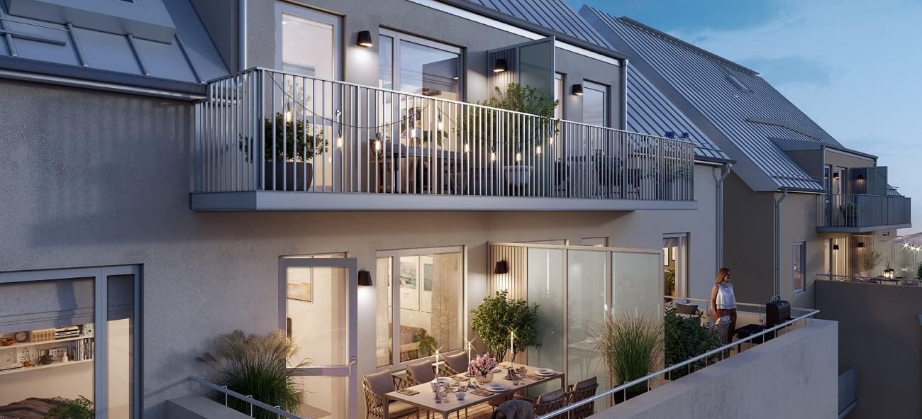 stora balkonger med mycket växter