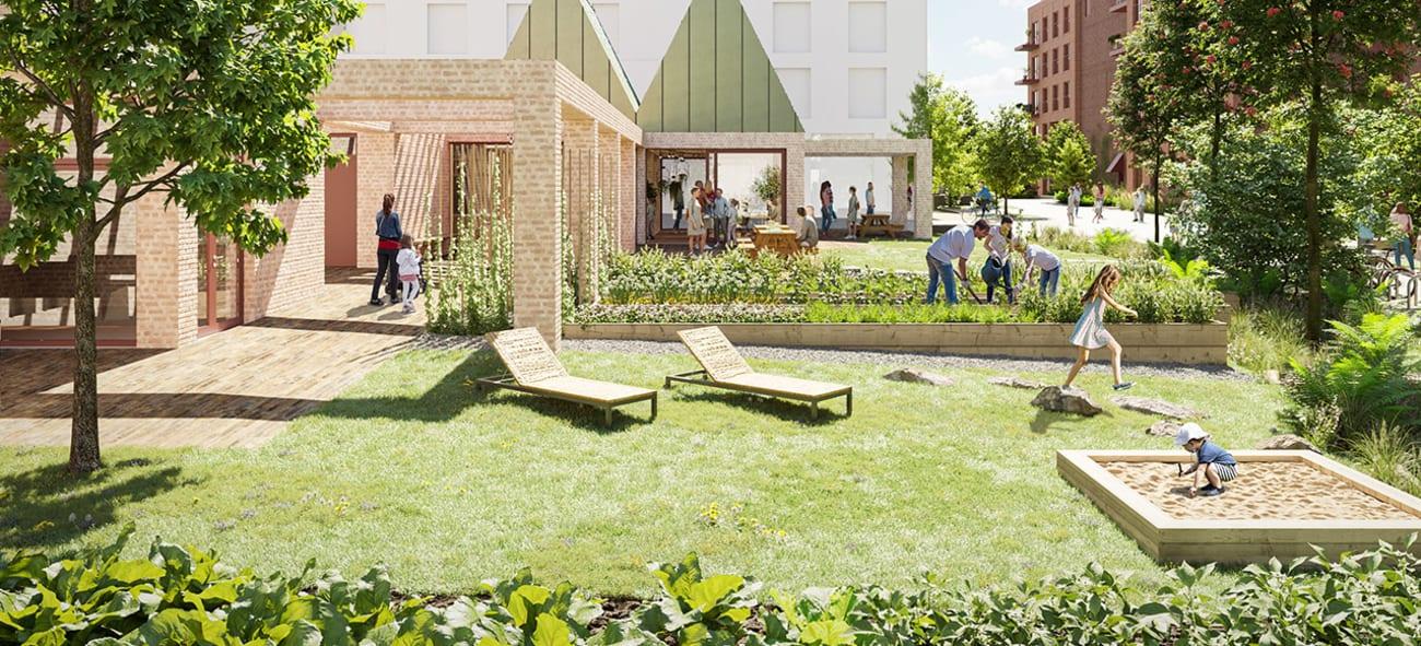 Illustrasjon av felleshus med hage