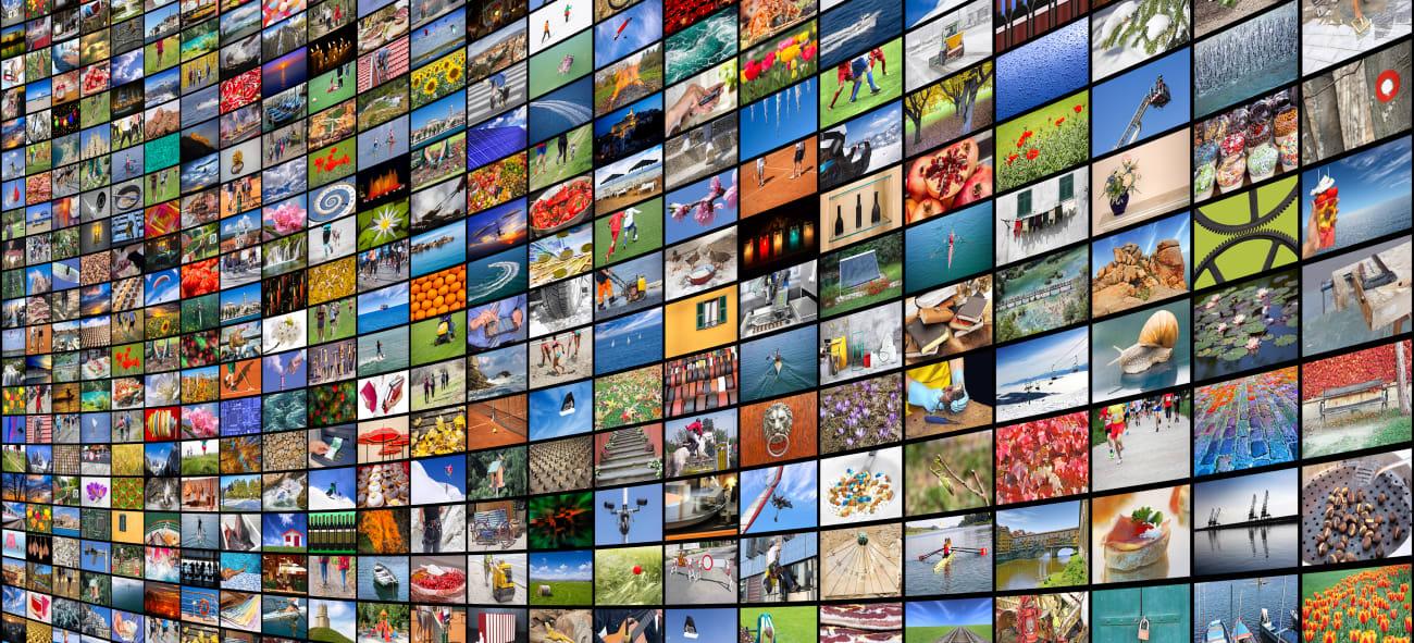 Mange forskjellige TV-skjermer med forskjellig innhold