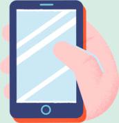 Illustrasjon av hånd som holder mobil