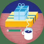 Illustrasjon av gaver på et bord, sammen med en kaffekopp og en blyant
