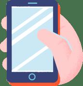 Illustrasjon av mobil i en hånd