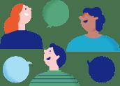 Illustrasjon av mennesker som snakker sammen