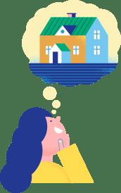 Illustrasjon av en kvinne som tenker på et stort hus