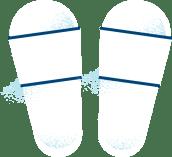 Illustrasjon av hvite slippers.