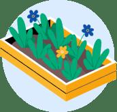 Illustrasjon av blomsterkasse med gule og blå blomster