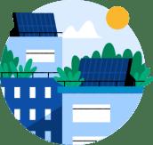 Illustrasjon av solcellepaneler på toppen av to bygninger og en sol som skinner.