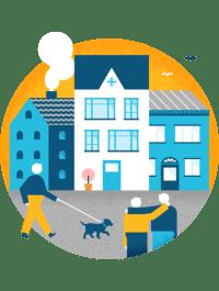 Illustrasjon av bygninger og folk som går tur foran dem