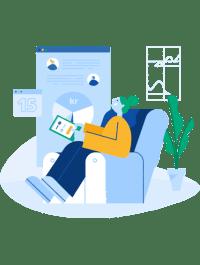Illustrasjon av kvinne som sitter og ser på en oversikt på et nettbrett