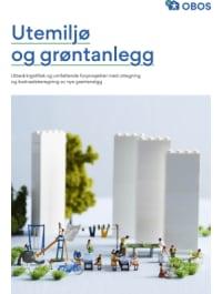 """Bilde av brosjyreforsiden hvor det står """"Utemiljø og grøntanlegg. Utbedringstiltak og omfattende forprosjekter med utlegning og kostnadsberegning av nye grøntanlegg""""."""