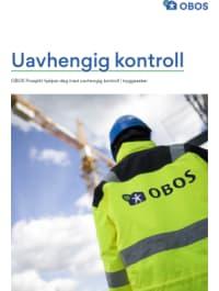 """Bilde av brosjyreforsiden hvor det står """"Uavhengig kontroll. OBOS Prosjekt hjelper deg med uavhengig kontroll i byggesaker""""."""