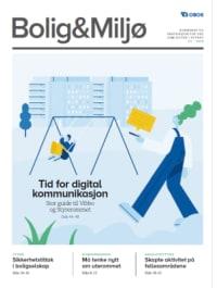 Illustrasjon av person som chatter med mobiltelefon. Blokker i bakgrunnen. Overskrift: Tid for digital kommunikasjon.