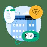 Illustrasjon av en bygning og ikoner som illustrerer bredbånd, strøm og måling