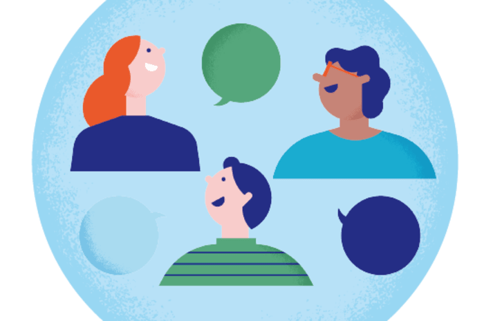 Illustrasjon av tre personer som snakker sammen