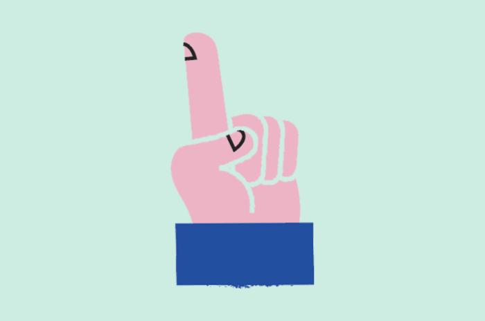 Illustrasjon av en hånd som peker opp