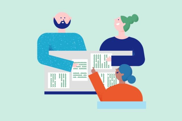 Illustrasjon av tre mennesker rundt et bord med papirer