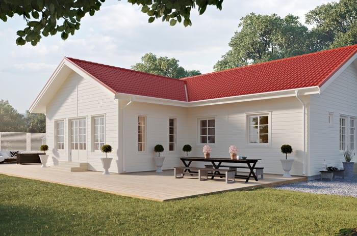 Ett vitt enplanshus från Smålandsvillan