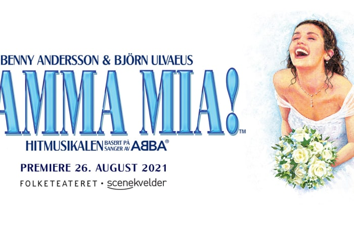 Illustrasjon av en brud med teksten Mamma Mia