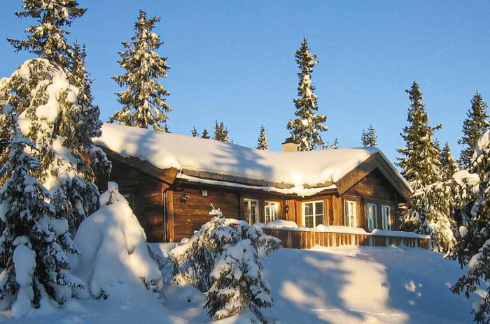 En trehytte i vinterlandskap