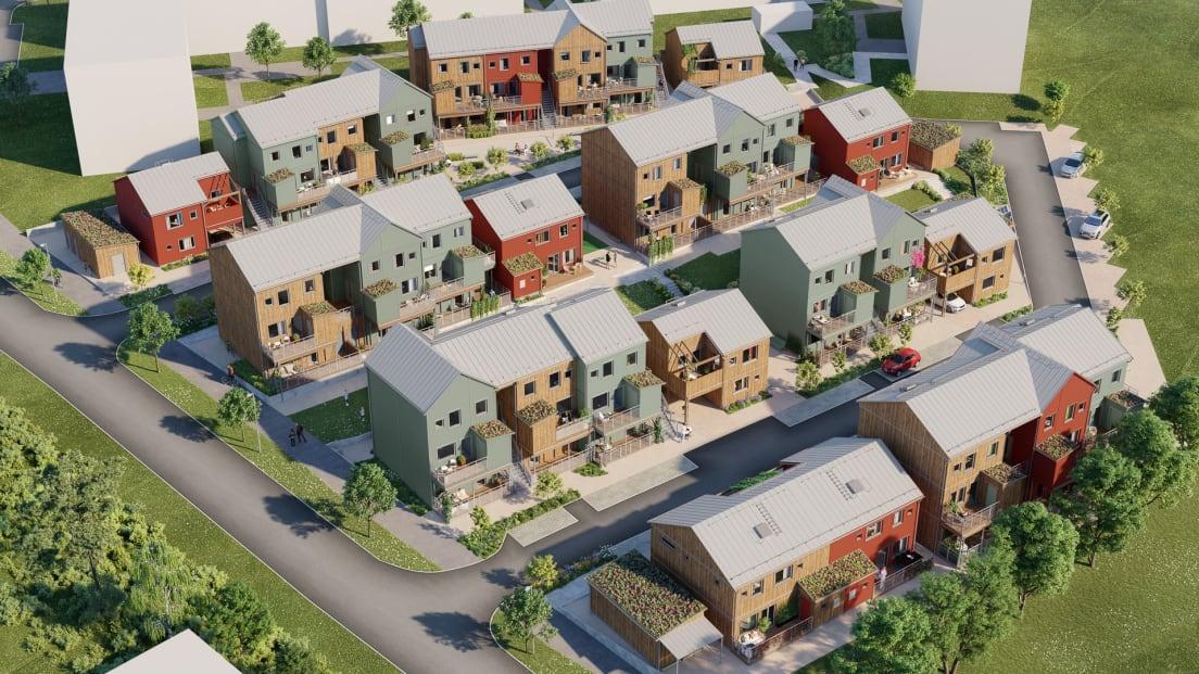 kvarteret sett uppifrån med lägenhetshus i olika färger