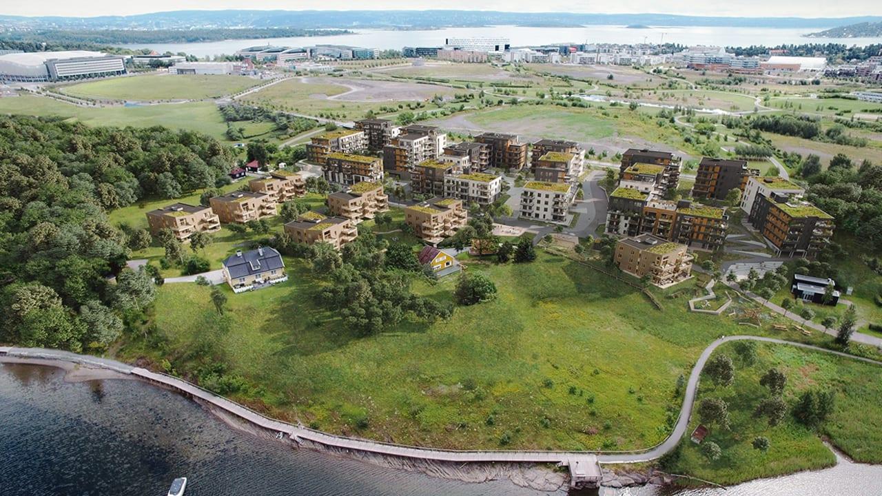 Luftfoto av boligblokker blant trær og sjø
