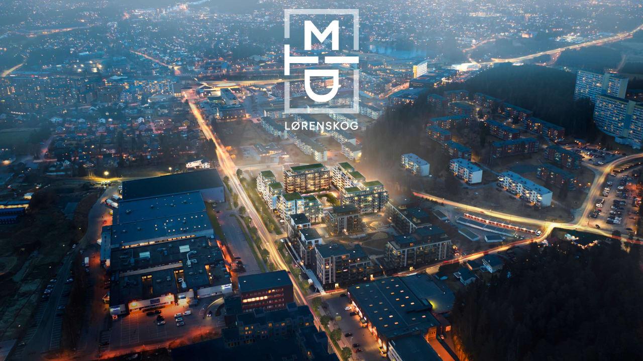 Illustrasjon av oversiktsbilde av MIDT-prosjektet i Lørenskog i kveldsbelsytning med prosjektlogo.