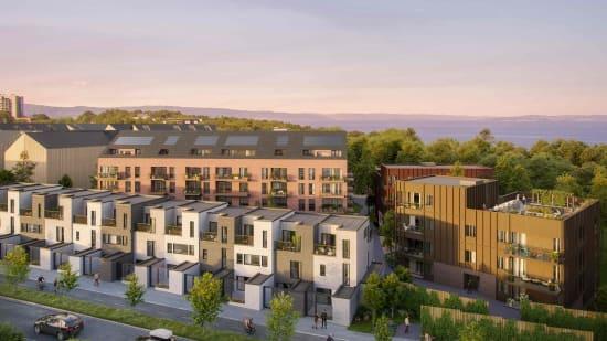 ILlustrasjon av Leangenbukta med rekkehus, byvillaer og slatakhus i fugleperpektiv